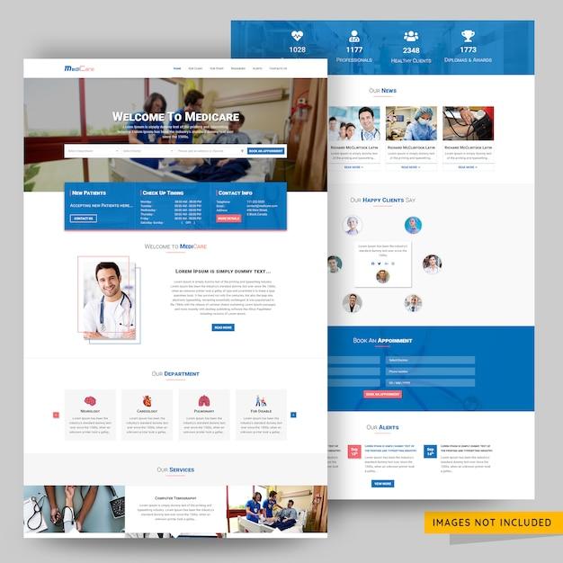 Modèle psd de page de destination pour les cliniques et les soins PSD Premium
