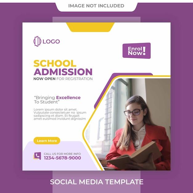 Modèle De Publication De Bannière D'admission à L'école Modifiable PSD Premium