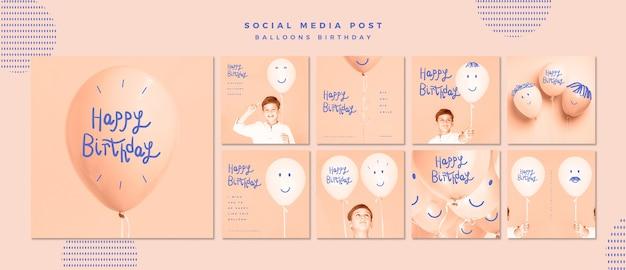 Modèle De Publication De Joyeux Anniversaire Sur Les Médias Sociaux Psd gratuit