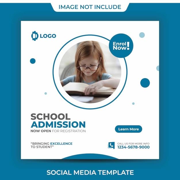 Modèle De Publication Sur Les Médias Sociaux De L'académie D'admission à L'école PSD Premium
