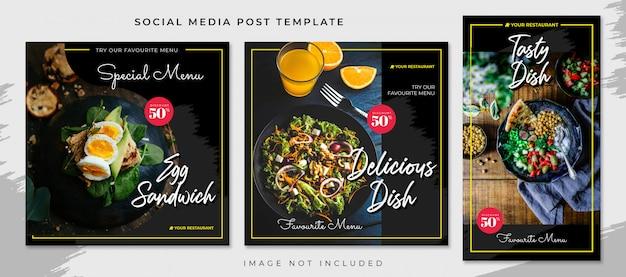 Modèle De Publication De Médias Sociaux Alimentaires Plats Jaunes Noirs PSD Premium