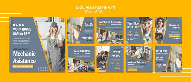 Modèle De Publication De Médias Sociaux D'assistance Mécanique Psd gratuit