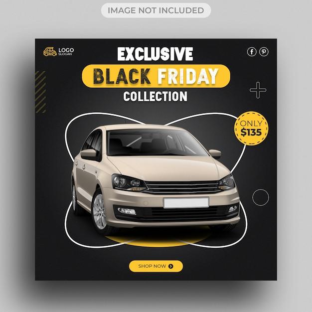 Modèle De Publication Sur Les Médias Sociaux Black Friday Car Sale PSD Premium