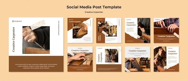 Modèle De Publication De Médias Sociaux De Charpentier Créatif Psd gratuit