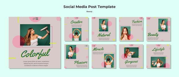 Modèle De Publication De Médias Sociaux De Concept De Beauté Psd gratuit
