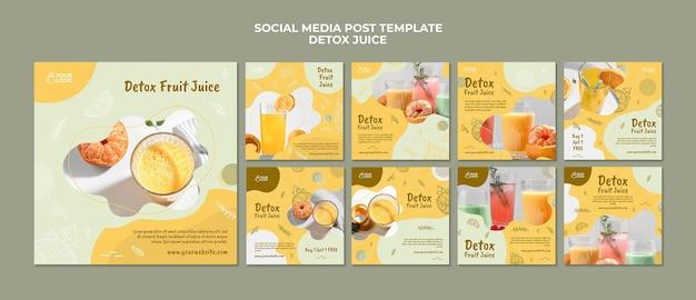 Modèle De Publication De Médias Sociaux Concept De Jus De Désintoxication PSD Premium