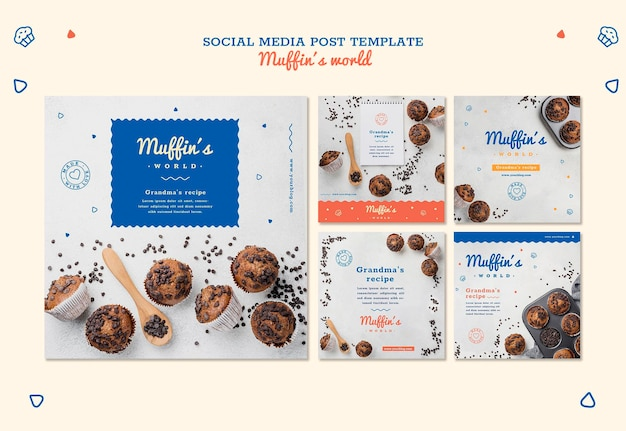 Modèle De Publication De Médias Sociaux Concept De Muffins Psd gratuit