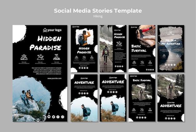 Modèle De Publication De Médias Sociaux Avec Concept De Randonnée Psd gratuit
