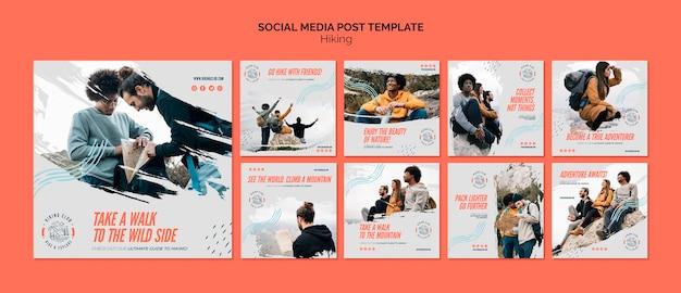 Modèle De Publication De Médias Sociaux De Concept De Randonnée Psd gratuit