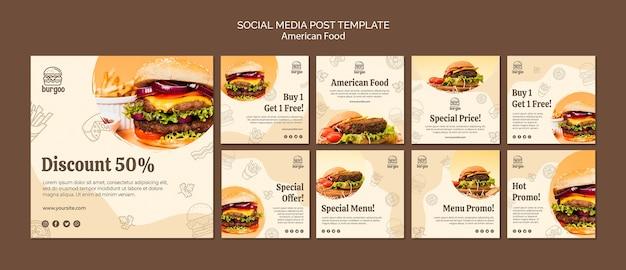 Modèle De Publication De Médias Sociaux De Cuisine Américaine Psd gratuit