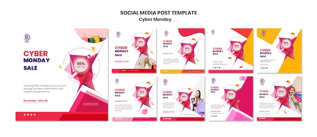 Modèle de publication sur les médias sociaux cyber monday Psd gratuit