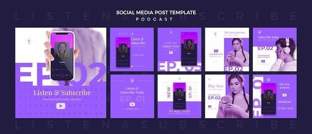 Modèle De Publication Sur Les Médias Sociaux Du Concept De Podcast PSD Premium