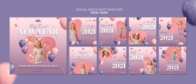 Modèle De Publication Sur Les Médias Sociaux Du Nouvel An PSD Premium