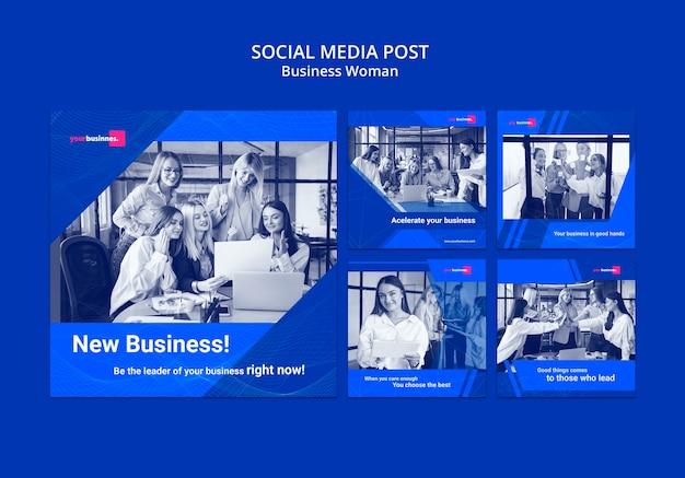 Modèle de publication sur les médias sociaux avec une femme d'affaires Psd gratuit