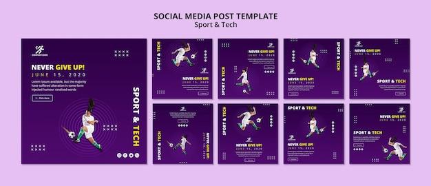 Modèle De Publication De Médias Sociaux De Football Fille Psd gratuit