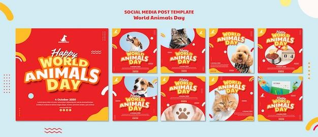 Modèle De Publication Sur Les Médias Sociaux De La Journée Mondiale Des Animaux PSD Premium