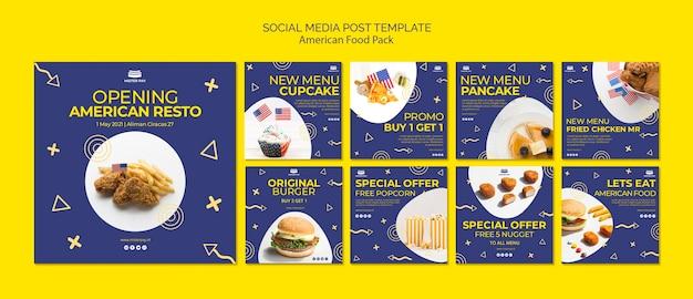 Modèle De Publication De Médias Sociaux Avec De La Nourriture Américaine Psd gratuit