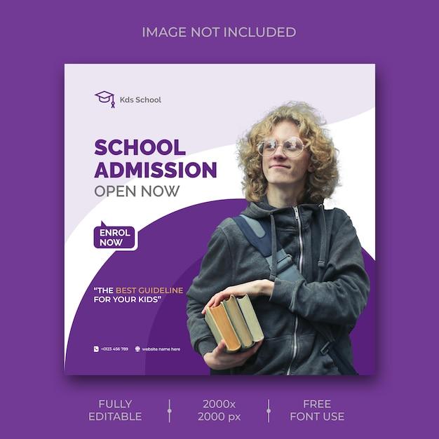 Modèle De Publication Sur Les Médias Sociaux Pour L'admission à L'école PSD Premium