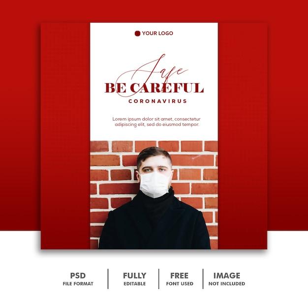 Modèle De Publication De Médias Sociaux Prudents Instagram, Homme Rouge Avec Masque Coronavirus PSD Premium