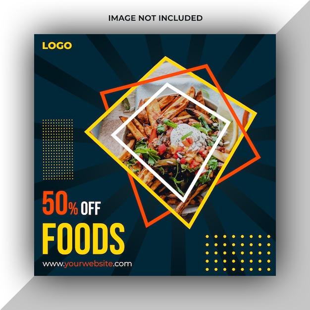 Modèle de publication sur les médias sociaux de restaurant foods PSD Premium