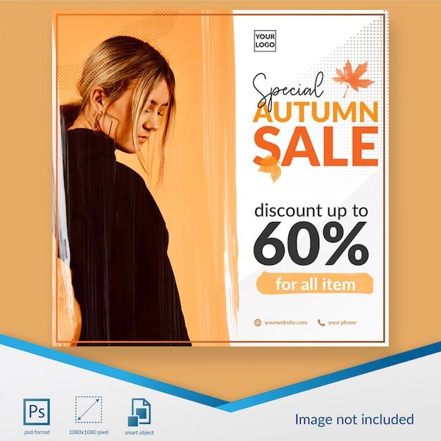 Modèle de publication spéciale pour les médias sociaux de la vente d'automne PSD Premium