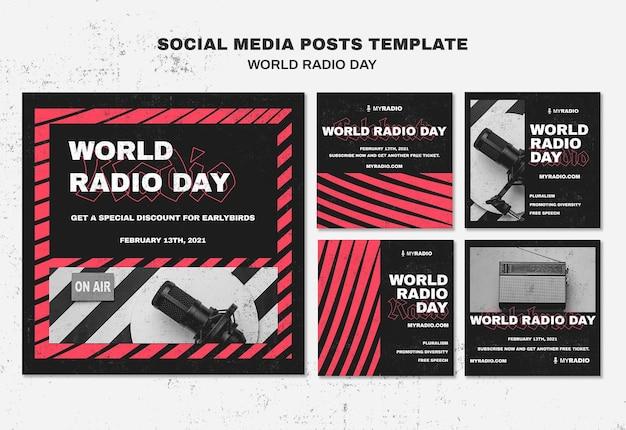 Modèle De Publications Instagram De La Journée Mondiale De La Radio Psd gratuit