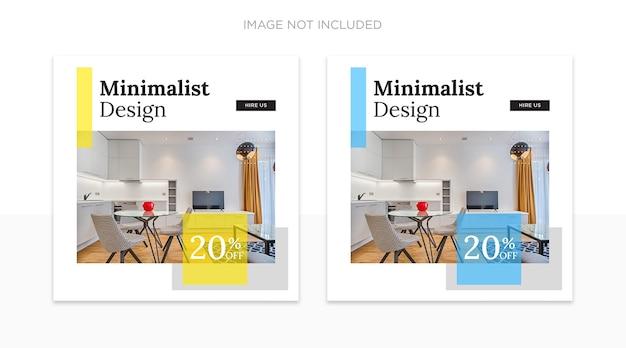 Modèle De Publications Sur Les Réseaux Sociaux De Design D'intérieur PSD Premium