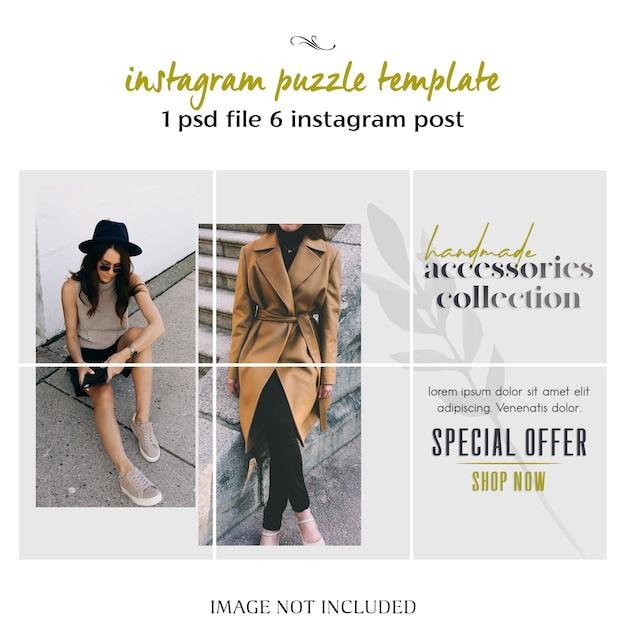 Modèle de puzzle instagram moderne, créatif et élégant, modèle de collage PSD Premium