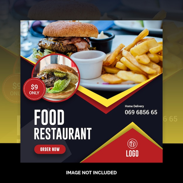 Modèle de restaurant instagram post alimentaire sur les médias sociaux PSD Premium