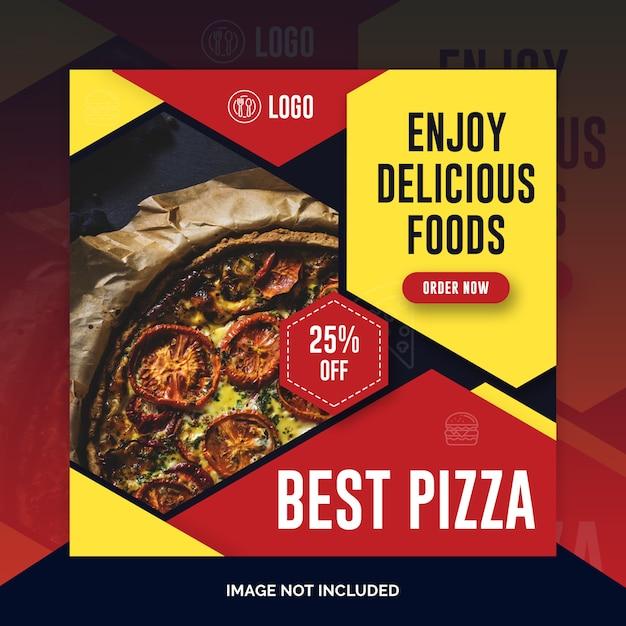Modèle de restaurant, poste, bannière carrée ou flyer PSD Premium