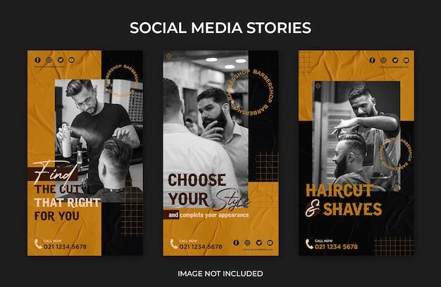 Modèle De Salon De Coiffure D'histoires Instagram De Médias Sociaux PSD Premium