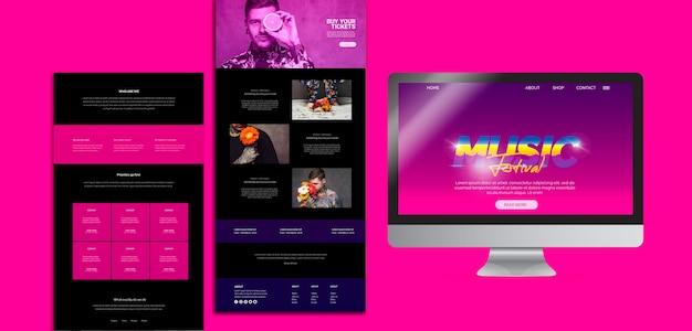 Modèle de site web pour un festival de musique des années 80 Psd gratuit