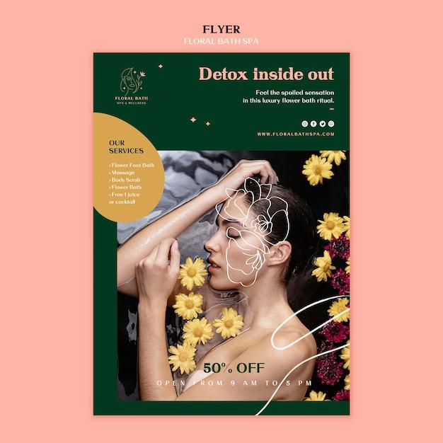 Modèle De Spa Floral Flyer Psd gratuit