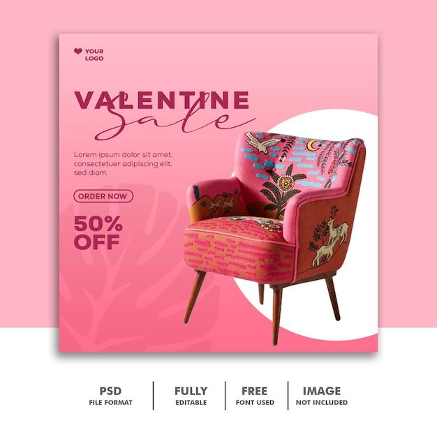Modèle De Vente De Canapé Instagram Post Valentine PSD Premium