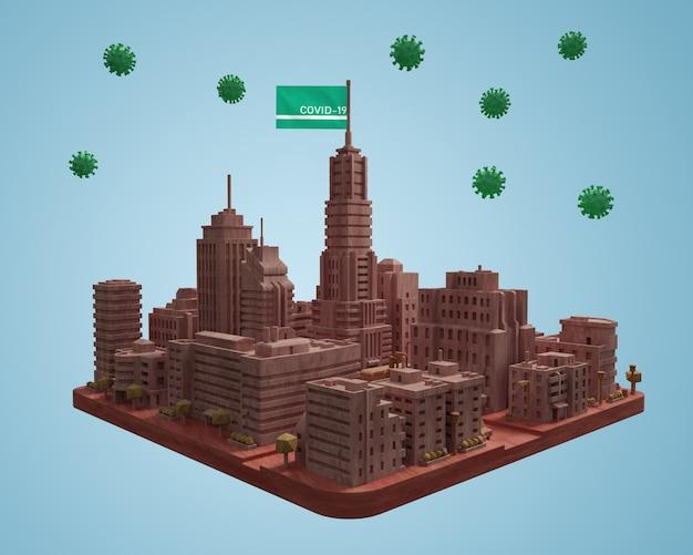 Modèle De Ville Avec Covid19 Psd gratuit