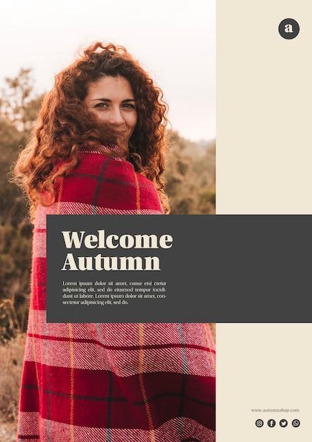 Modèle web automne bienvenue vertical avec femme cheveux bouclés Psd gratuit