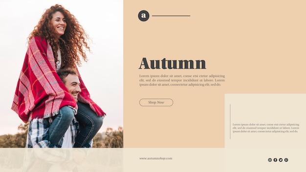 Modèle web automne avec joli couple Psd gratuit