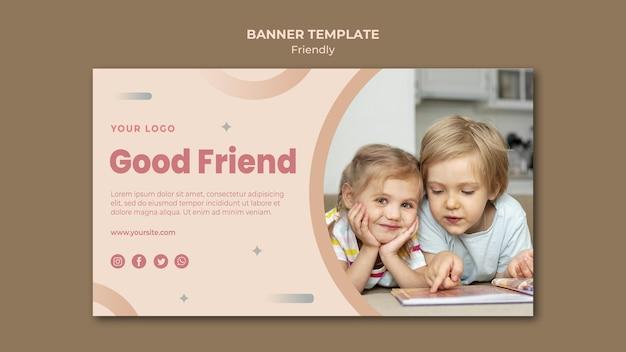 Modèle Web De Bannière Bons Enfants Amis Psd gratuit