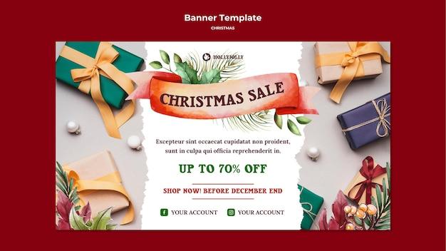Modèle Web De Bannière De Cadeaux Emballés Psd gratuit