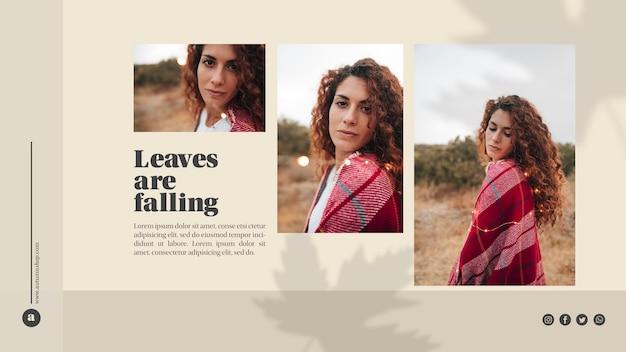Modèle web avec feuilles et belle femme Psd gratuit