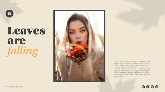Modèle web horizontal avec femme tenant des feuilles orange Psd gratuit