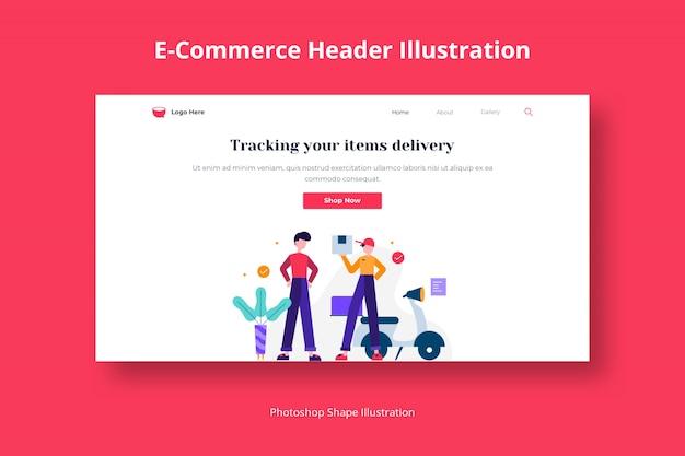 Modèle Web De Livraison De Services De Commerce électronique Avec Illustration Plate PSD Premium