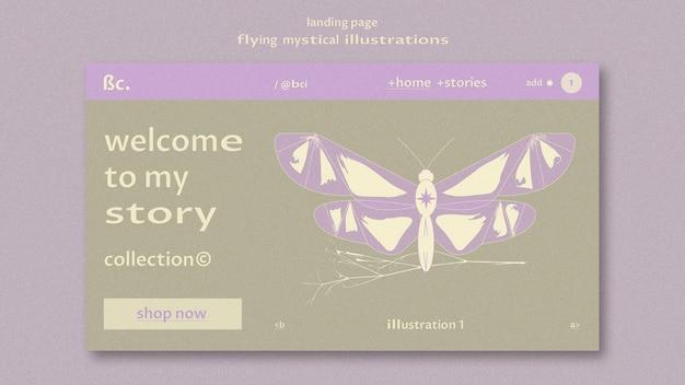 Modèle Web De Page De Destination Mystique Volante Psd gratuit