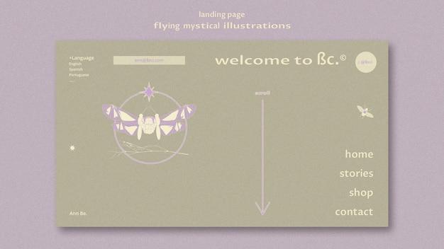 Modèle Web De Page De Destination De Papillon Mystique Volant Psd gratuit