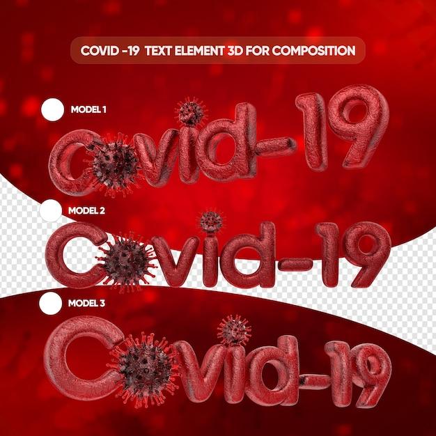 Modèles D'effet De Texte Covid En Rendu 3d Isolé PSD Premium