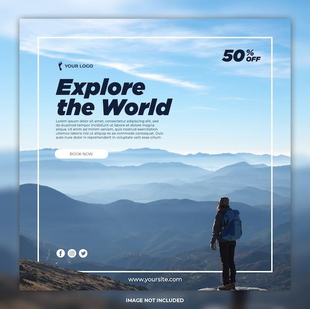 Modèles Instagram De Bannière D'aventure De Médias Sociaux De Voyage PSD Premium