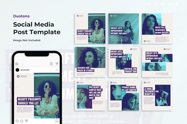 Modèles instagram de bannières de médias sociaux duotone PSD Premium