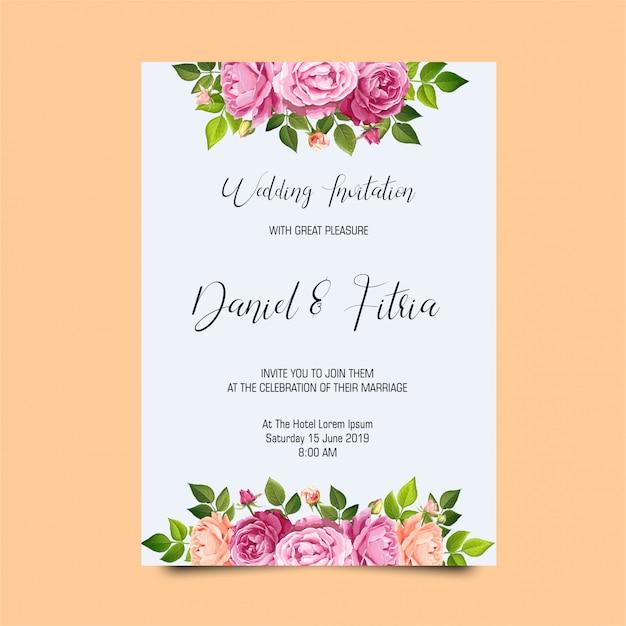 Modèles D'invitation De Mariage Cadre Rose PSD Premium