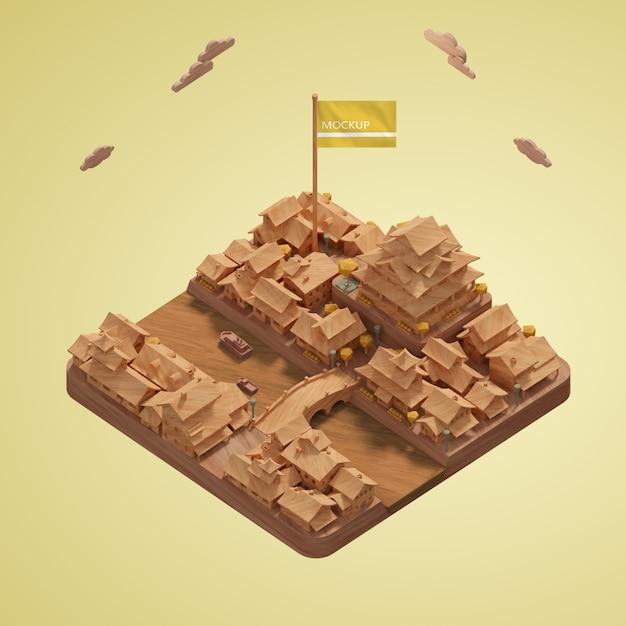Modèles Miniatures Des Villes De La Journée Mondiale Psd gratuit