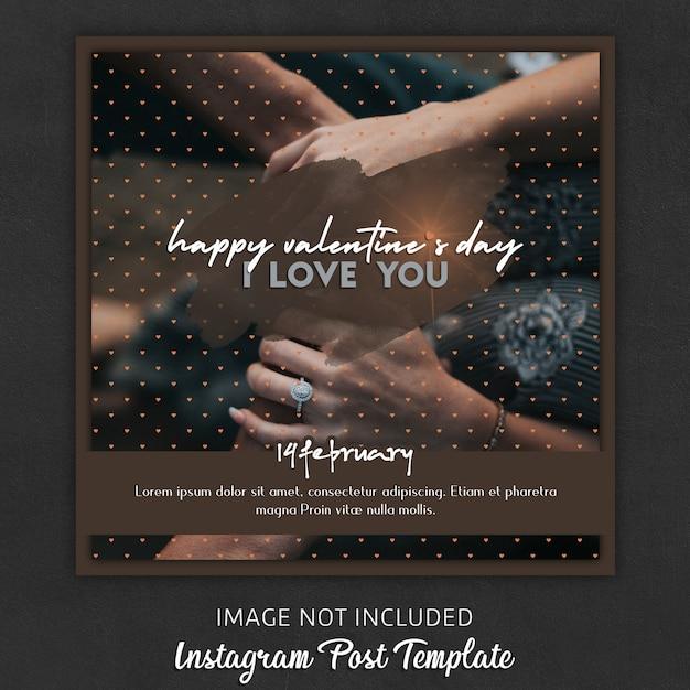 Modèles de publication instagram pour la saint-valentin PSD Premium